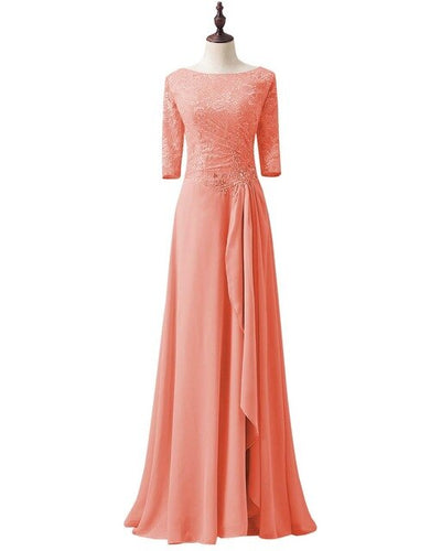 Chiffon Elegant Half Sleeves Lace Mother Of the Bride Dress For Wedding Groom  Long Formal Ruffles Evening Dress