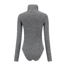 Load image into Gallery viewer, Knit Bodysuit Long Sleeve Leotard High Neck