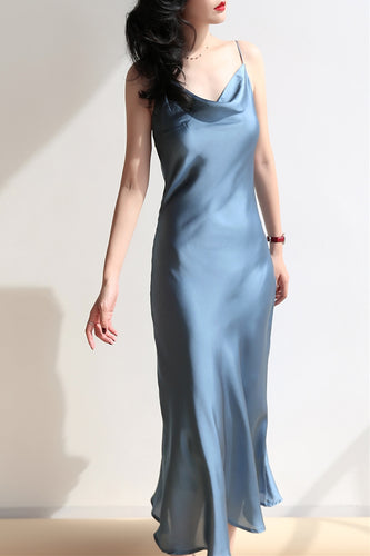 Dusty Blue Silk Cowl Neck Midi Slip Dress