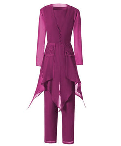 Asymmetrical Women Chiffon Lace 3 Pieces Mother of the Bride Dress With Jacket Pant Suits with Long Sleeves Outfit