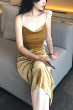 Load image into Gallery viewer, Cowl Neck Gold Velvet Midi Slip Dress