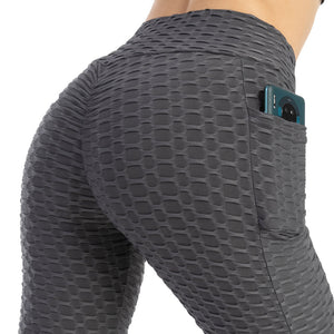 Pockets Women's High Waist Yoga Pants Tummy Control Workout Ruched Butt Lifting Stretchy Leggings Textured Booty Tights