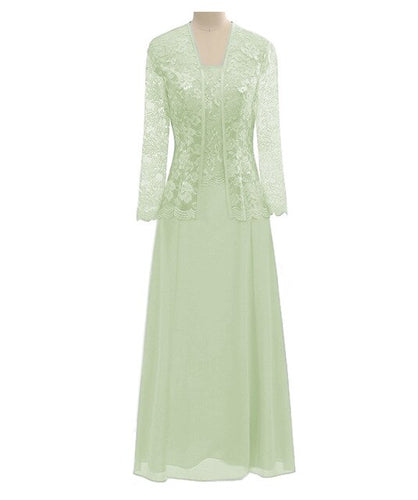 A Line Long Sleeves Lace Cut Out Formal Gown Chiffon Mother Of the Bride Dress With Jacket For Wedding Party