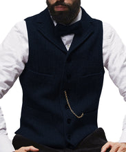 Load image into Gallery viewer, Herringbone Mens Vest Made to Order Tailored Collar 4 Pockets 6 Buttons