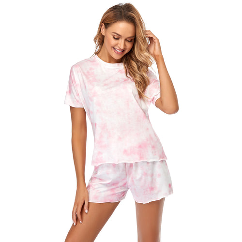 Tie Dye Printed Lounge Set Tops and Shorts Two-piece Pajamas Set Sleepwear