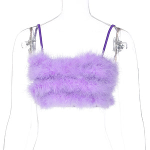 Faux Fur Spaghetti Strap Crop Top Sleeveless Camisole Blouses