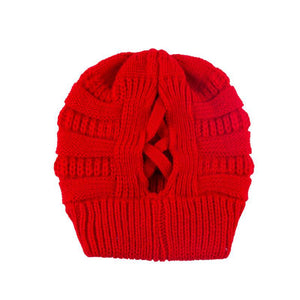 Knit Beanie Criss Cross Back Soft Thick Warm Hat