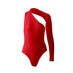 One-shoulder Jersey Bodysuit Top Leotard
