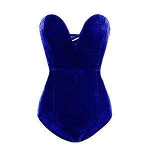 Tube Top Velvet Bodysuit Leotard Corset Back