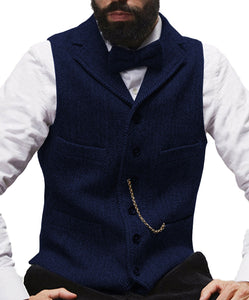 Herringbone Mens Vest Made to Order Tailored Collar 4 Pockets 6 Buttons