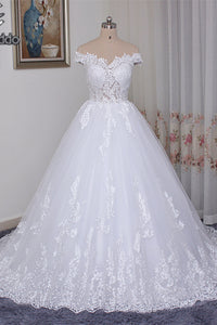 Ball Gown Wedding Dress White Lace Off the Shoulder