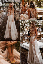 Load image into Gallery viewer, Boho Wedding Dress Champagne Lace Tulle