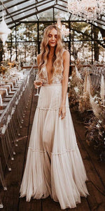 Boho Wedding Dress Champagne Lace Tulle