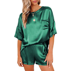 Lounge Sets For Women Pure color satin pajamas Short Sleeve