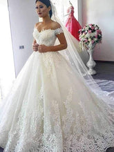 Load image into Gallery viewer, Off the Shoulder Wedding Dress Ivory Lace