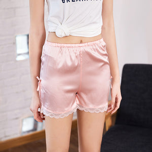 Ice Silk Sleep Bottom Lounge Shorts For Women