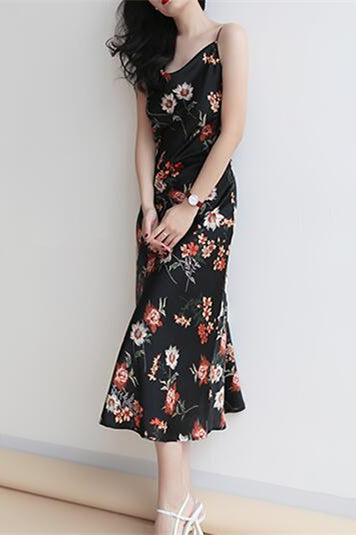 Cowl Neck Floral Print Midi Slip Dress