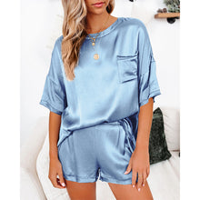 Load image into Gallery viewer, Lounge Sets For Women Pure color satin pajamas Short Sleeve