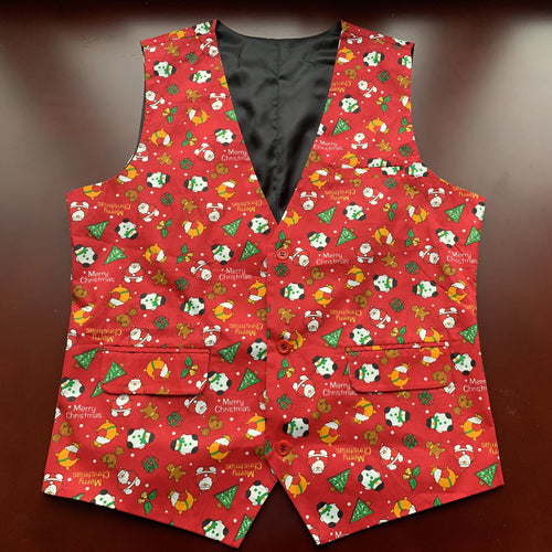 Red Men's Ugly Christmas Vest Made to Order Boys Kids Christmas Vest