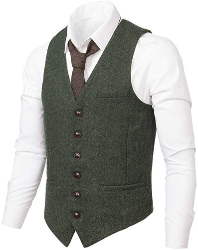 Men's Suit Vest Made-to-Order Army Green Wedding Prom Waistcoat
