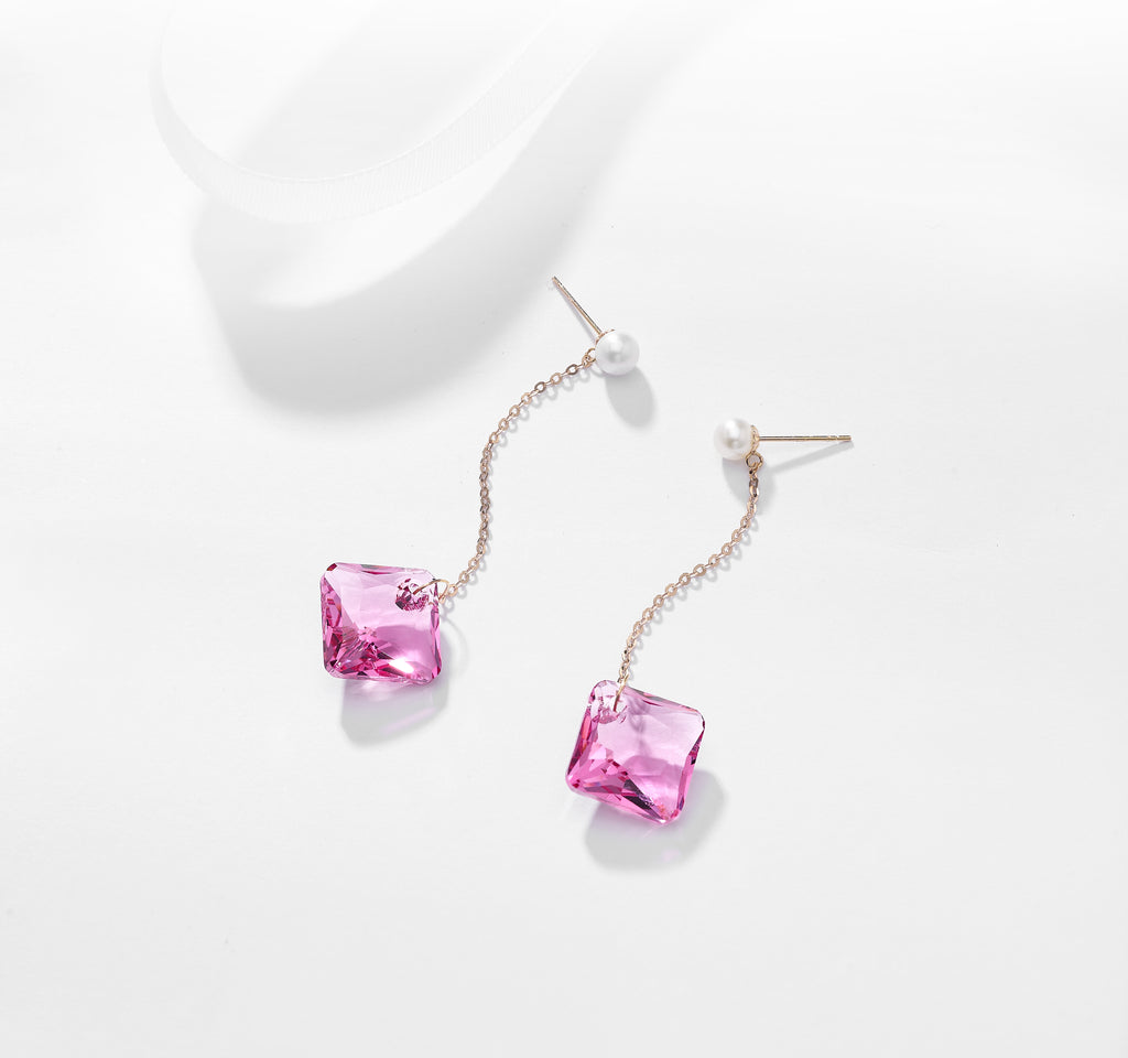 Quatre Earrings In Rosie Pink