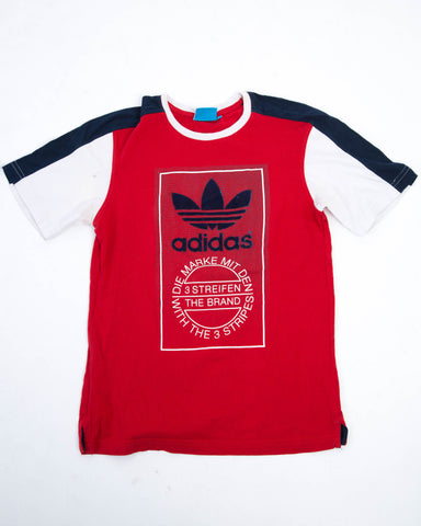 Vintage Adidas T-shirt Rood/Blauw/Wit - Medium