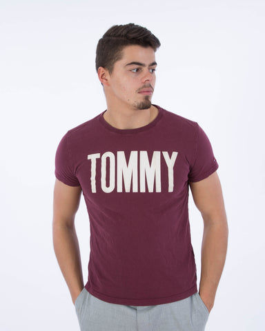 Tommy Bordeaux Rood Shirt maat M Tweedehands