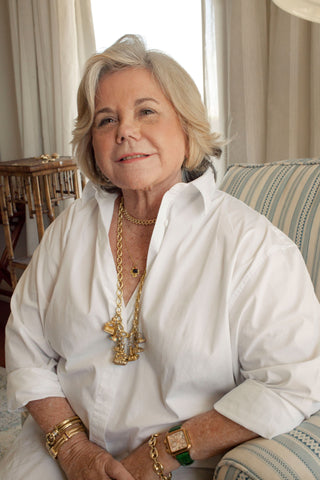 Grandmother portrait in jewelry and white elegant fashion blouse