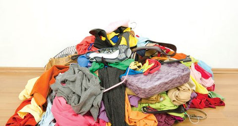 Pile of clothing in textile waste