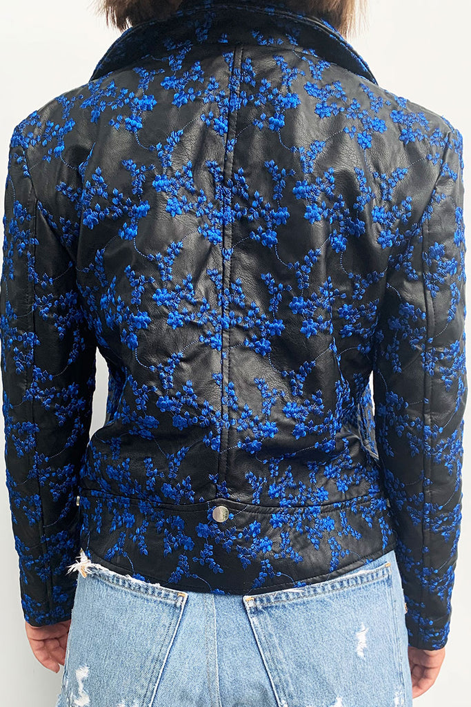 Floral Embroidered Vegan Jacket