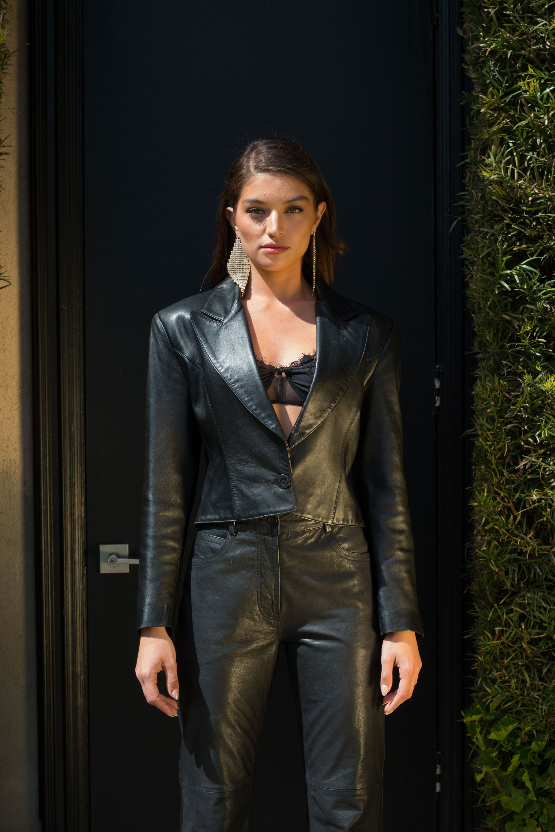 Black Leather Crop Jacket