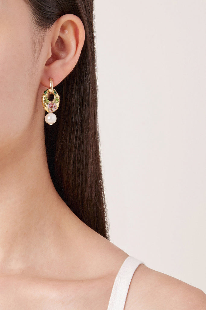 Cloisonne & Pearl Hoop Earrings