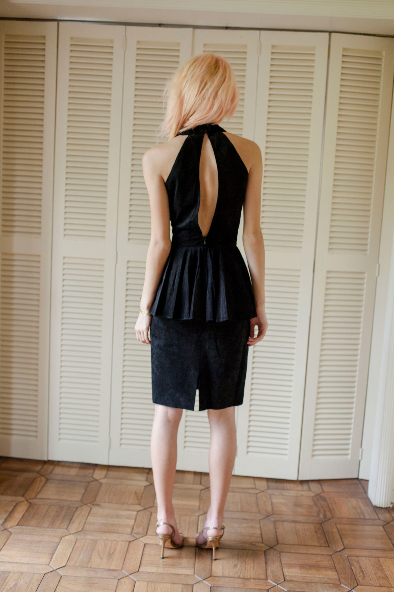 Pia Rucci Suede Peplum Dress