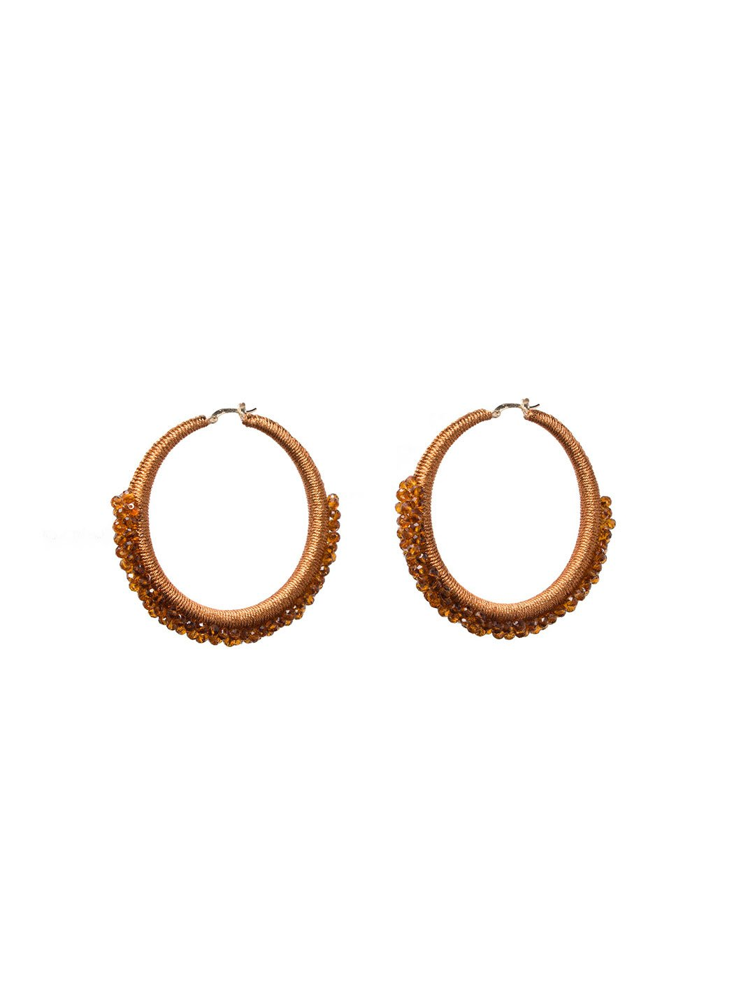 Rusty Orange Beaded Hoops