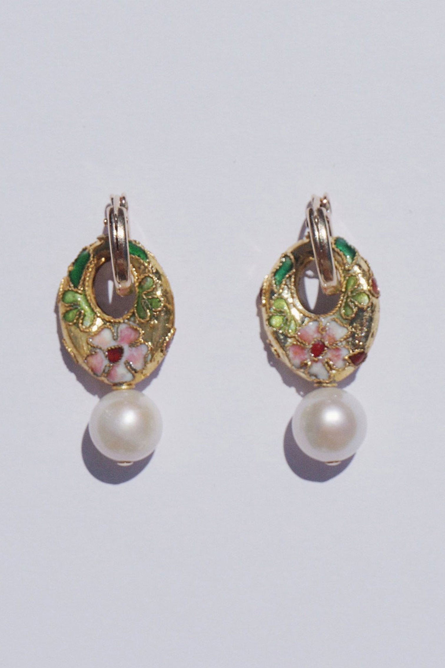Cloisonne Pearl Handmade Earrings