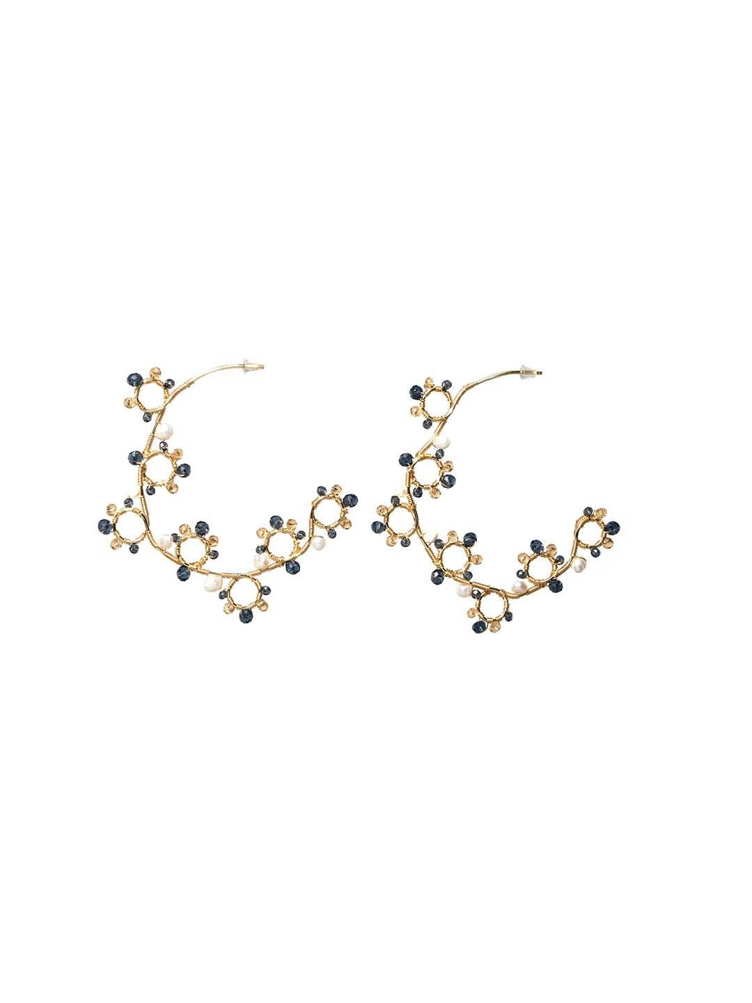 Gold Elegant Beaded Hoop Earrings