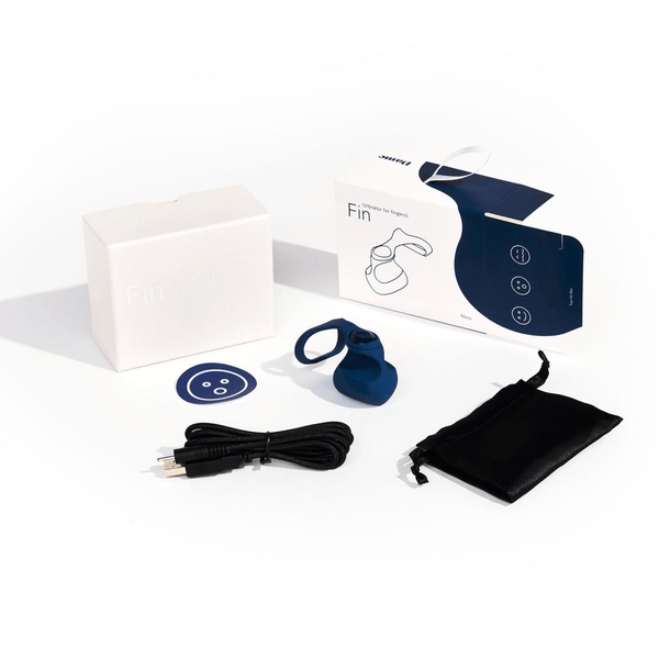 Dame Fin NAVY Vibrator for Fingers Wellness Dame