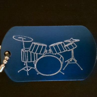 Drum Kit Graphic Dogtag