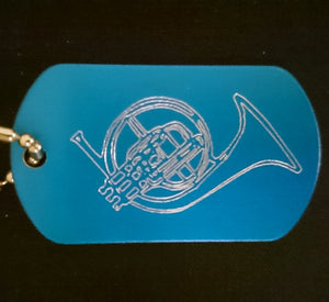 French Horn Graphic Dogtag