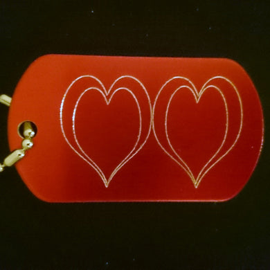 Double Heart Graphic Dogtag