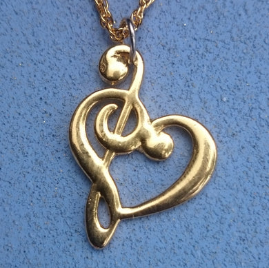 Music Heart Necklace, Gold-tone