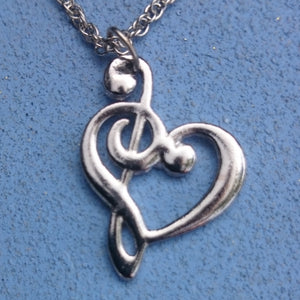 Music Heart Necklace, Silver-tone