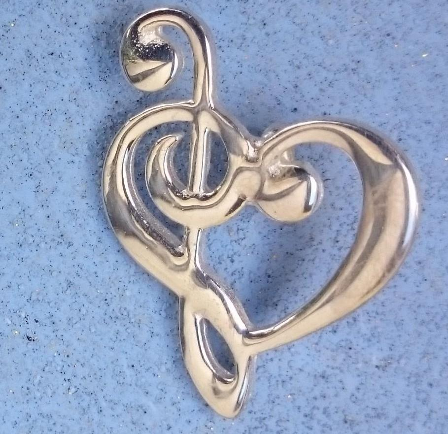 Sterling Silver Music Heart