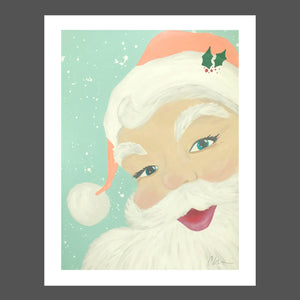 This Beach inspired Santa features a light snowy aqua blue background.  Santa's suit is coral with white fur and a sprig of holly on his brim.  His eyes are bright and with aqua blue and his lips and cheeks are rosy pink.
