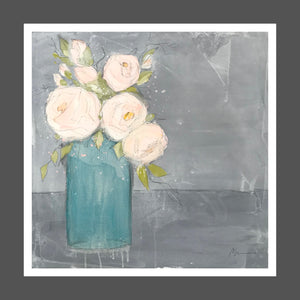 A relaxed painting with loose edges in light pink, coral and white roses in a teal transparent vase.  Table and background are in shade of medium to dark gray with white wash. Marks, brush strokes and drips are visible.