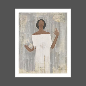A painting of an African American woman with her face to the Heavens, eyes closed, hands slightly up. She's wearing a white dress and her skin is a medium brown with dark, shorter afro.