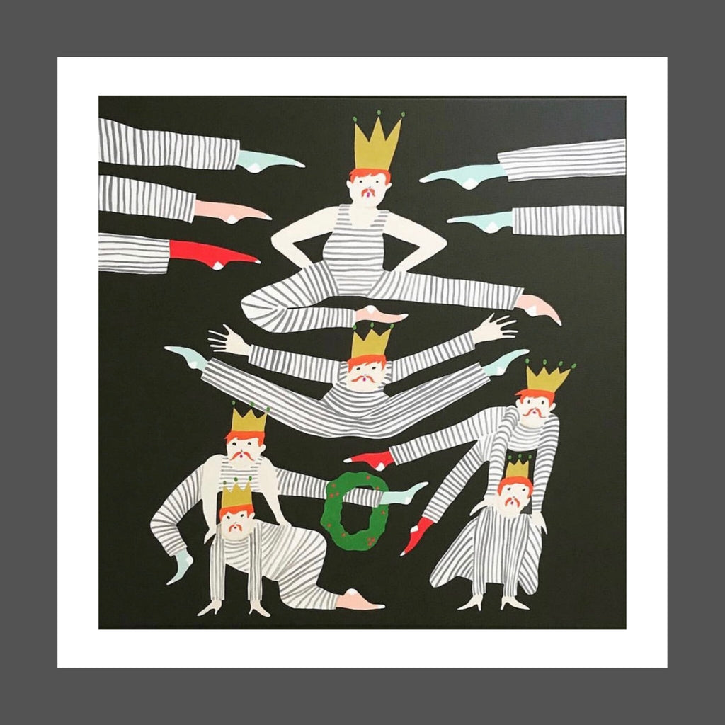 This is a whimsical painting of Leaping Lords from the twelve days of Christmas.  Their suits are black and white striped with multi colored socks.  Red hair, gold crowns and a Christmas wreath in green and red. The background is black.