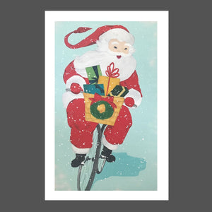 This painting is of Jolly Saint Nick or Santa Clause riding a beach cruiser through the snow. There is a small wreath on the woven basket of the bike / bicycle and filled with presents / gifts.  His suit is red, the background is beach blue and the gifts are green, yellow, aqua and teal.  His smile is beautiful and his eyes are gleaming.