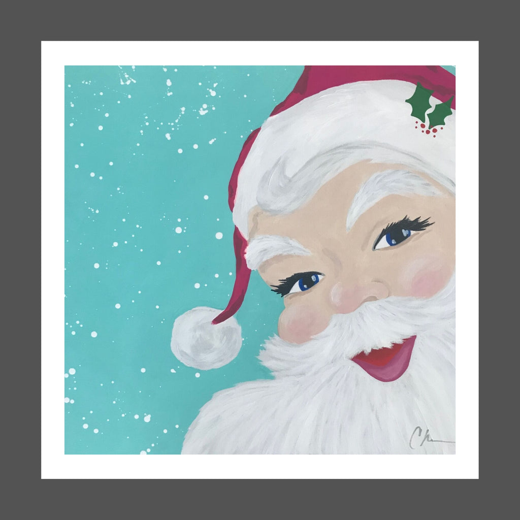 This square painting of Santa has a snowy, turquoise blue background.  Santa's beard is white and fluffy with a little gray.  His suit is magenta with white fur.  His eyes are blue and twinkling and there's a sprig of holly on his brim.  Very Jolly!