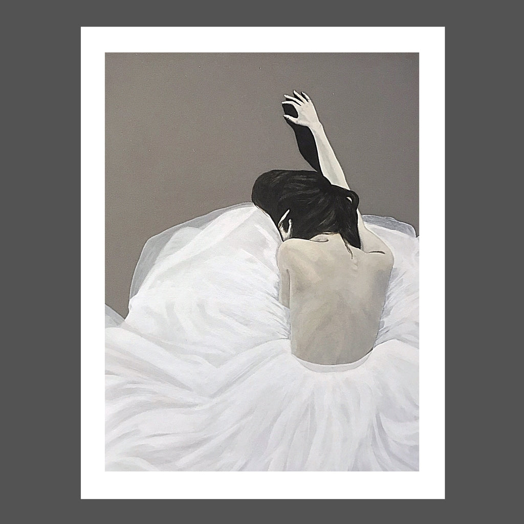 This painting was inspired by a photograph.  I imagined she could be a ballerina, exhausted after a long show... she could be a woman getting ready for a formal event and she's  over it... or she could be coming home from that night out and just never made it out of her skirt! LOL  She's whatever you want her to be! The painting is black and white with gray background.